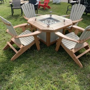 Fire pit with four folding Adirondack chairs